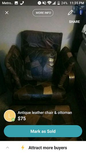 Antique leather chair and ottoman for Sale in Phoenix, AZ