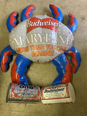Maryland Blow up Budweiser Crab holding Bud and Bud Light Cans 34x27 inches for Sale in Westminster, MD