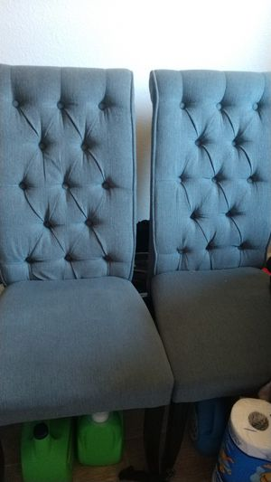 6 upholstered blue dining chairs 200 for all 6 for Sale in Tempe, AZ