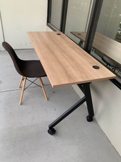 NEW 2 PC Combo HON Flip Base Wheat or White Color Laminate Top Office Computer Desk Conference Table 60x24x30 inches Tall and DSW Mid Century Style L for Sale in Los Angeles,  CA