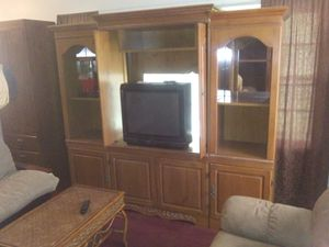 3 piece lighted mirrored entertainment center for Sale in Zion, IL