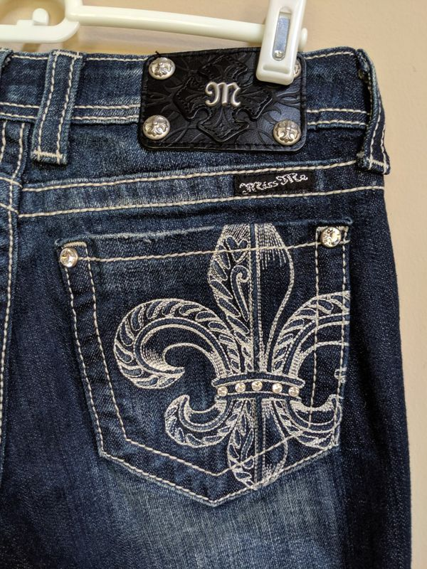 MISS ME Jeans Womens JP5156B Crystal Fleur-De-Lis Boot Cut Dark Wash Size 27 x 32