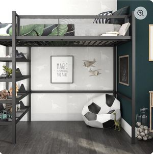 Twin loft bed with shelves for Sale in Coral Springs, FL