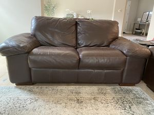 Espresso leather loveseat and ottoman for Sale in Ladera Ranch, CA
