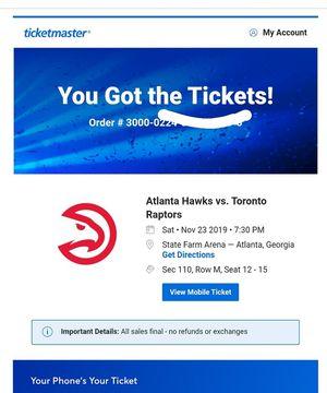 Hawks vs Raptors Game $100 a ticket, plus parking pass. November 23, I HAVE 4 TICKETS LEFT! for Sale in College Park, GA
