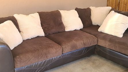 Living Room Set Sectional Sofa Chaise FREE DELIVERY!! Brown and beige leather and microfiber sofa and chaise $300 obo for Sale in Phoenix,  AZ