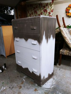 Neutral Boho / Ombre Vintage Waterfall Tall Boy Dresser Solid wood! Brown, Tan & White! 18D x 50H x 32W for Sale in Joliet, IL