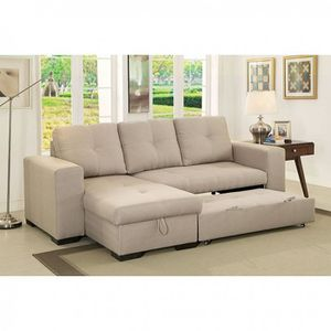 IVORY FABRIC SECTIONAL SLEEPER BED STORAGE CHAISE SOA / SILLON CAMA for Sale in Rancho Cucamonga, CA