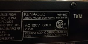 Kenwood VR-407 A/V Receiver with Onkyo SKM-100 speakers for Sale in Hayward, CA