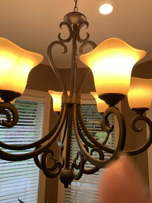 Chandelier bronze with six lights for Sale in West Linn, OR