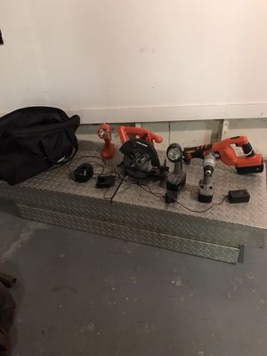 Tool box and cordless tools and lights for Sale in Valley City, ND