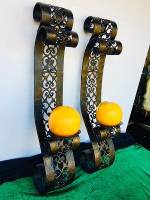 Set of two Light metal wall art candle holders: H24xW4.5xD4.5 inch (candles not included) for Sale in Sun Lakes, AZ