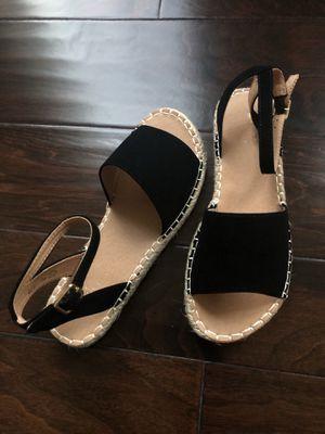 Black suede Open toe espadrilles SIZES 5.5-6-6.5-7-7.5-8-8.5-9-10 for Sale in Ashburn, VA