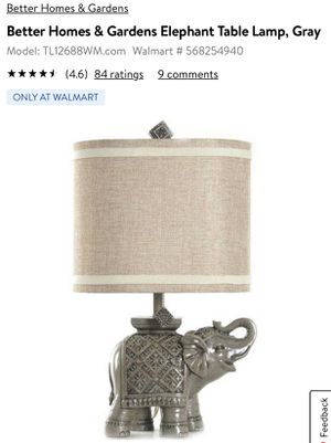 Better homes and gardens elephant lamp for Sale in Thompson, CT