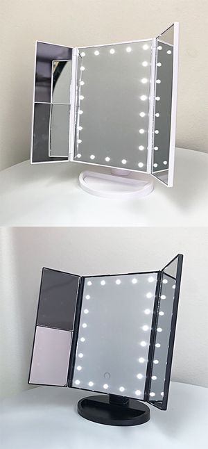 """New $20 each Tri-fold LED Vanity Makeup 13.5""""x9.5"""" Beauty Mirror Touch Screen Light up Magnifying for Sale in Pico Rivera, CA"""