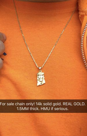 14k solid gold diamond rope chain 1.5mm thick and 24inches long. for Sale in Wichita, KS