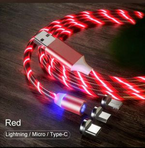 Red glowing led magnetic 3 in 1 for iphone and android devices. 6.6ft. 2 for $18. for Sale in Los Angeles, CA