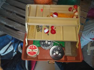 Box with fishing things for Sale in Phoenix, AZ