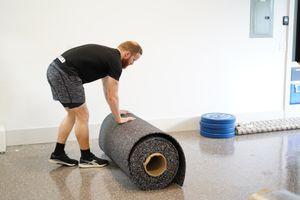 "Regupol rubber flooring - rogue fitness CrossFit gym - 500sqft - grey/white fleck 3/8"" roll for Sale in Boca Raton, FL"