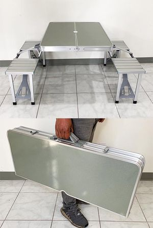 Brand new $65 Aluminum Folding Picnic Table Portable Outdoor Camping Bench (Max Table 65lbs, Chair 175lbs) for Sale in Pico Rivera, CA
