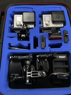 2 GoPro Hero 4 with case and batteries for Sale in Inglewood, CA