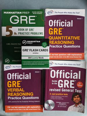 GRE books - 5lb Manhattan Prep GRE book and Flashcards, Verbal and Quantitative Official GRE books for Sale in Newton, MA