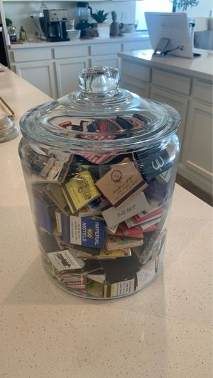Glass jar full of collectible matches for Sale in Queen Creek, AZ