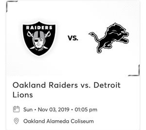 Raiders vs Lions tickets . Parking pass also available for Sale in San Jose, CA