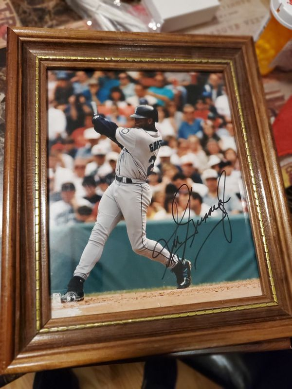 3 autographed Ken Griffey jr. Pics framed only one COA and one limited edition lithograph