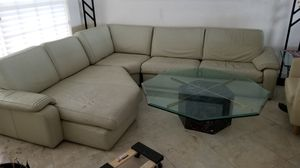 JUST REDUCED Leather Couch Sofa Beautiful soft leather, off-white - giveaway pricing !! Extra-large double chaise lounge part of the sectional sofa I for Sale in Miami Shores, FL