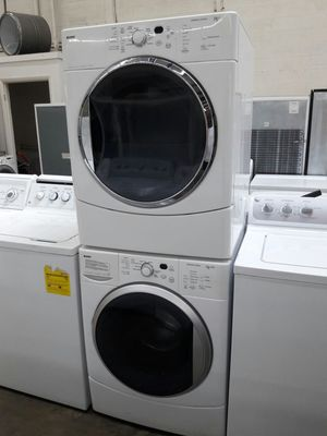 "27""width Kenmore front load washer and dryer set great working condition with warranty for Sale in Temple Hills, MD"