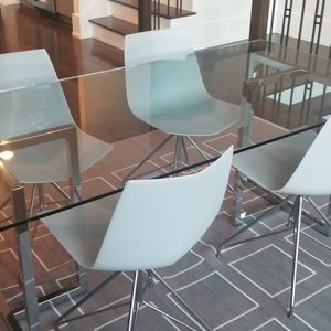 West Elm Dining Table Modern 6' X 3' Glass And Chrom for Sale in Chamblee, GA