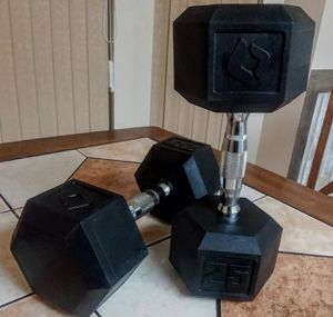 Pair of 25lb Weider Rubber Hex Dumbbells for Sale in Port Richey, FL