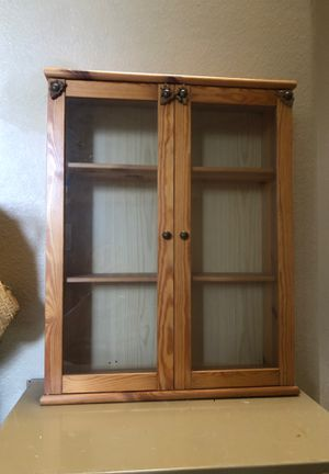 Medicine cabinet Wooden display case Small curio cabinet doll closet hutch for Sale in Murrieta, CA