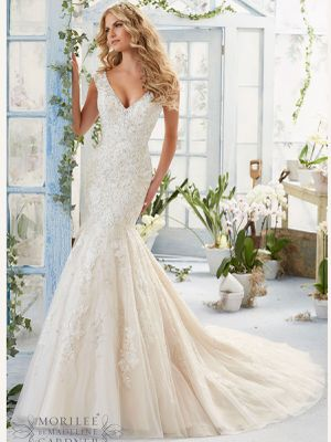 Morilee Ivory Lace with Swarovski Rhinestones Wedding Gown for Sale in Chula Vista, CA