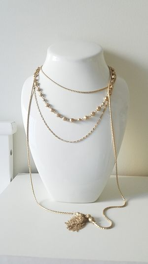 Long multi chain tassel fangled necklace from Nordstrom in matte gold for Sale in Seattle, WA