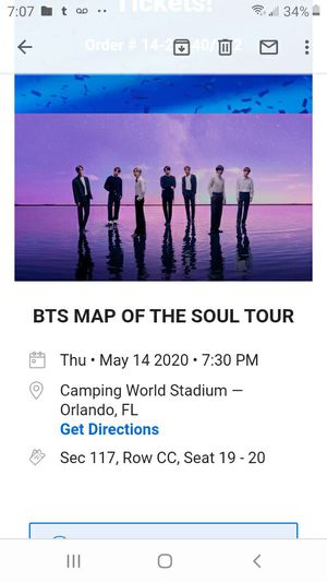 BTS Orlando 2020 Concert tickets for Sale in West Palm Beach, FL