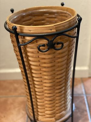 Longaberger wooden tall basket with insert - umbrella stand for Sale in San Jose, CA