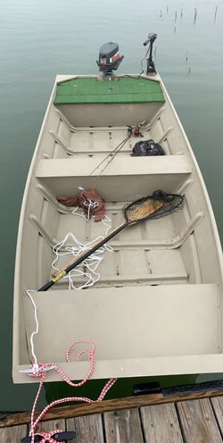 14ft Aluminum John boat with trailer and 4 hp outboard for Sale in Leander,  TX