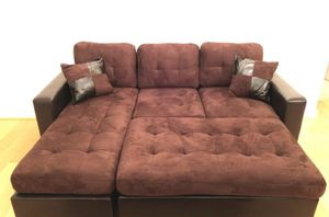 Brand New Brown Microfiber Sectional Sofa Couch + XL Ottoman for Sale in Silver Spring, MD