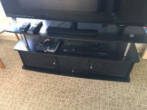 "2-Tier Black Laminate & Chrome 60"" TV Table with Shelf & 3 Cabinets for Sale in Denver, CO"