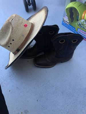 Boys size 4 Ariat cowboy boots and authentic western hat for Sale in Bradenton, FL