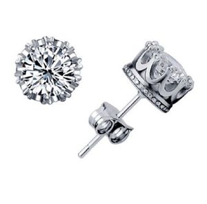 Last one Fashion Crown Silver Color Earrings Women Brincos De Prata Crystal Jewerly Double Stud for Sale in Silver Spring, MD