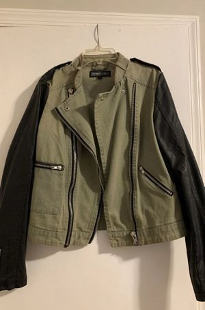 Faux Leather/denim jacket two toned for Sale in Aspen Hill, MD