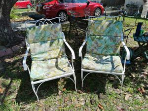 TWO LARGE WHITE DECORATIVE CAST IRON CHSIRS WITH CUSHIONS for Sale in Jacksonville, FL