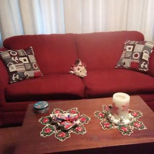 Couch With Full Size Bed 52x72 Red for Sale in Uniontown, PA
