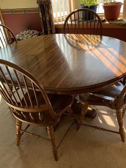 Walnut  dining table 4 chairs & side buffet for Sale in Wixom, MI