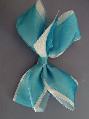 """6"""" Light Blue and Azure Grosgrain Hairbow With Sheer Accent Ribbon and Alligator Clip Handmade for Sale in Lewisville, TX"""