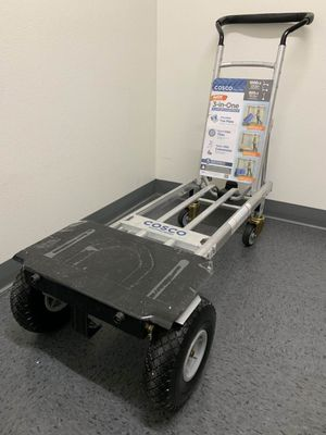 New Cosco Folds Flat Push Cart Heavy Duty 1000 lb. 3-In-1 Aluminum Assisted Hand Truck Dolly Cart with Flat Free Wheels Commercial Grade for Sale in Covina, CA