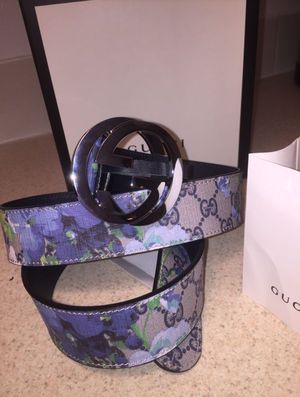 Gucci Floral Bloom Blue/ Beige Leather Belt Authentic for Sale in Queens, NY